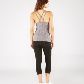 Manduka Cross Strap Cami Salt and Pepper Heather